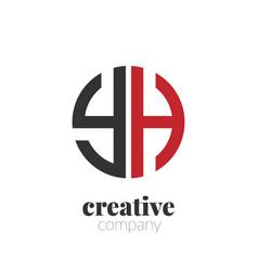 initial letter yh creative elegant circle logo vector image