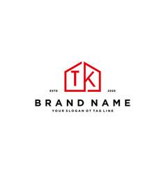 Letter tk home logo design concept vector