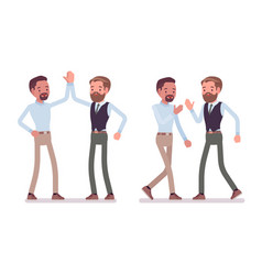 men friendly greeting vector image