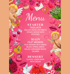 Menu on wedding day main courses starter dessert vector