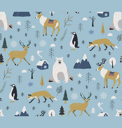 merry christmas winter pattern seamless pattern vector image