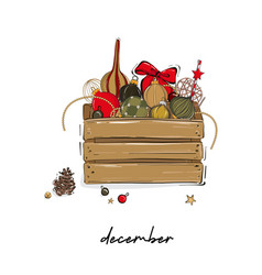 Merry christmas wood crate full decoration vector