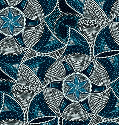 Mosaic round blue tiles with stars vector