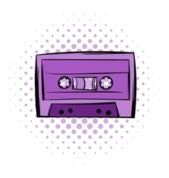 Music-cassette or tape comics icon vector image