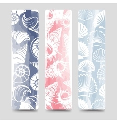 Ocean bookmarks collection with sea shells vector