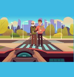 pedestrian crossing elderly care people cross vector image