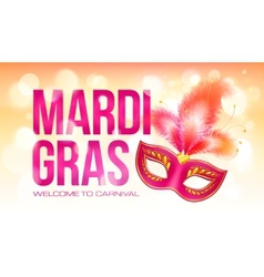 Pink Mardi Gras banner template with red carnival vector image