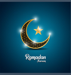 Ramadan kareem islamic design with crescent moon vector