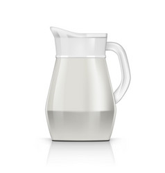 Realistic transparent glossy glass jug with milk vector
