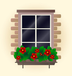 red flowers on window vector image
