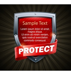 Red shield on black text vector image vector image