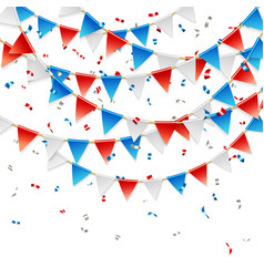 red white and blue party flags with confetti vector image