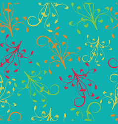 red yellow orange green branches on turquoise vector image