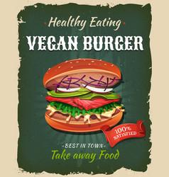 Retro fast food vegan burger poster vector