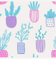 Seamless pattern with flowers in pots vector