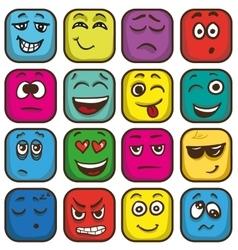 Set of colorful emoticons square emoji flat vector image