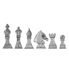 set with king queen bishop knight rook and vector image