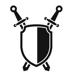 shield sword icon simple style vector image