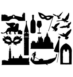 sketches of venice silhouettes collection vector image