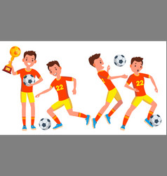Soccer male player in action modern vector