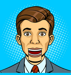 speaking puppet head pop art style vector image