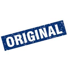 square grunge blue original stamp vector image