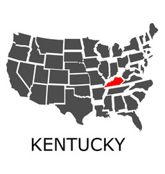 State kentucky on map usa vector