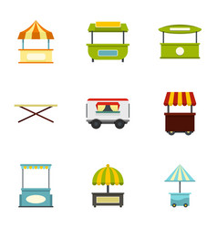 Street stall icon set flat style vector