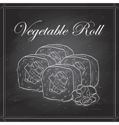 Sushi sketch Vegetable roll vector