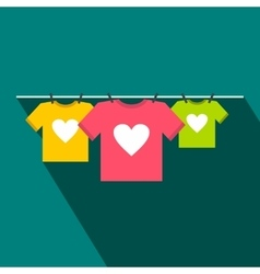 T-shirts with heart flat icon vector image