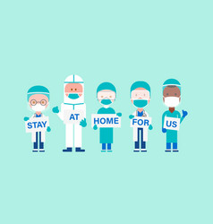 team doctors with hand placard text stay at vector image