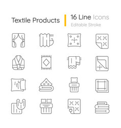 textile products linear icons set vector image