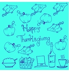 Thanksgiving doodles pumpkin chicken vector