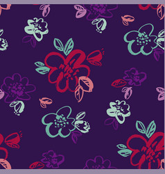 tropical night colors hand drawn flowers vector image