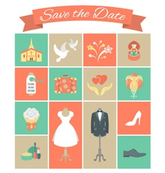 Wedding Icons Square Set 2 vector image