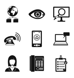 Worldwide surveillance icons set simple style vector