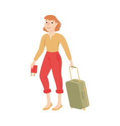 young woman tourist with suitcase and plane vector image