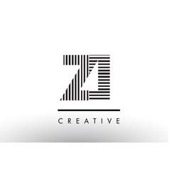Zi z i black and white lines letter logo design vector