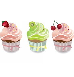 Cupcake with fruits toppings and cream vector image