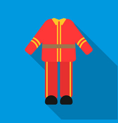 firefighter uniform icon flat single silhouette vector image vector image