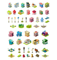 isometric icons set for city constructor vector image