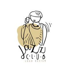 jazz club logo design vintage music label vector image