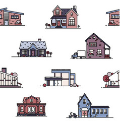 seamless pattern with suburban houses on white vector image