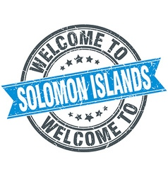 Welcome to solomon islands blue round vintage vector