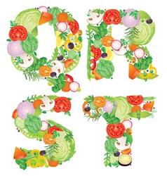 Alphabet of vegetables QRST vector image