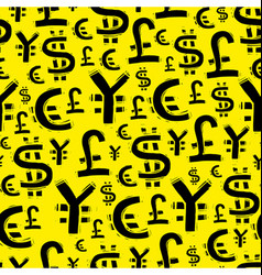 Black currency signs usd pound euro and yen on vector