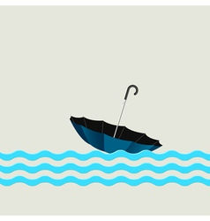 Blue umbrella on waves vector image vector image