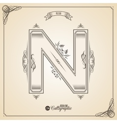 Calligraphic Fotn with Border Frame Elements and vector image vector image