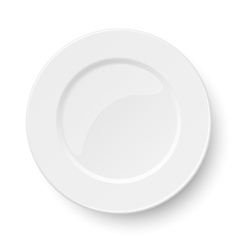 Empty classic white plate isolated on white vector image vector image