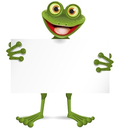Frog with a white plate vector image vector image